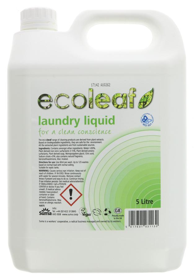 Ecoleaf Non-Bio Laundry Liquid - 5 litre