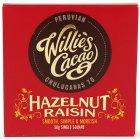 Willies Cacao  Peruvian Hazelnut & Raisin 70% Dark Chocolate Bar - 50g