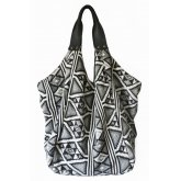 Hava Bag with Leather Handles - Black White Jacquard
