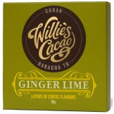 Willies Cacao Ginger & Lime Cuban 70% Dark Chocolate Bar - 50g
