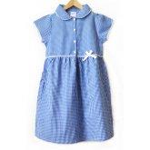 Girls Gingham Checked Summer School Dress - Blue - Infant