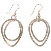 Double Silver Oval Hoop Earrings