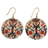Floral Print Circle Earrings