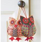 Tweed Hanging Owl Decoration