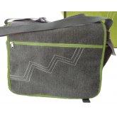 Jute & Cotton Blend Messenger Bag - Grey