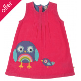 Alice Cord Owl Dress - Raspberry