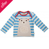 Bobby Applique Top - Blue Stripe/Polar Bear