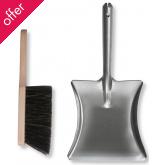 Galvanised Dustpan & Wooden Brush