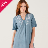 Nomads Embroidered Textured Cotton Tunic Dress