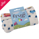 Frugi Lovely 2 Pack Muslin Cloths - On the Road/Blue Star