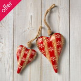 Hanging Wooden Striped Heart Decoration - Large