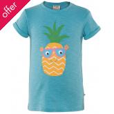 Frugi Praa Printed Pineapple T-Shirt - Aqua