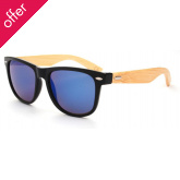 Bamboo Sunglasses - Blue Mirrored Lenses