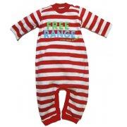 Free Range Striped Baby Playsuit (Red & White Stripe)