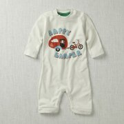 Happy Camper Baby Playsuit (White)