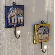 Hand Painted Elephant Ceramic Hooks