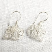 Silver Filligree Elephant Earrings