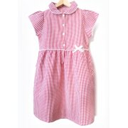 Girls Gingham Checked Summer School Dress - Red - Junior