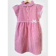Girls Gingham Checked Summer School Dress - Red - Infant
