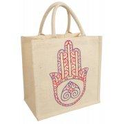 Reusable Jute Shopping Bag - Hamsa Hand