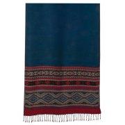 Fair Trade Large Aztec Stole Scarf - Blue Stripe - 65x180 cm