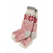Snowflake Knitted Christmas Socks - Red