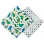 Frugi Lovely Dinos Print Muslin Cloths - 2 Pack