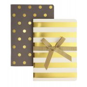Shimmer Gold & Taupe A6 Notebooks - Set of 2