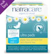 Natracare Organic Cotton Ultra Pads - Super with Wings - 12