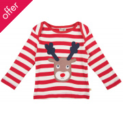 Bobby Applique Top - Tomato stripe/Rudolph
