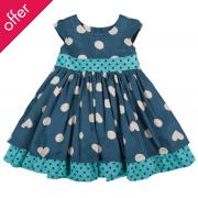 Little Twirly Bow Dress - Polka Hearts