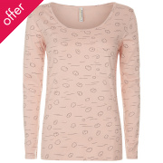 People Tree Cloud Print Long Sleeve Pyjama Top - Pink