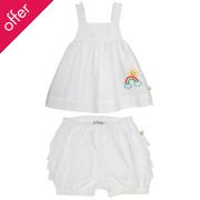 Frugi Swiss Dot Ruffle Bum Outfit - White