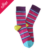 Doris & Dude Kids Stripe Bamboo Socks - Magenta