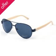 Aviator Bamboo Sunglasses - Black
