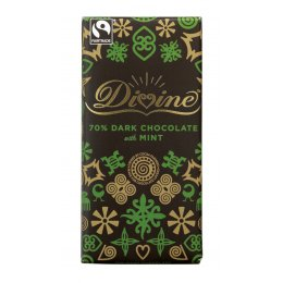 Divine Dark Chocolate Bar with Mint Crisps - 100g