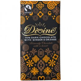 Divine 70 percent  Dark Chocolate with Ginger & Orange