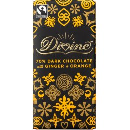 Divine 70 percent  Dark Chocolate with Orange & Ginger - 100g