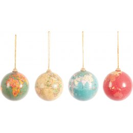Ian Snow Christmas Globe Baubles - Set of 4