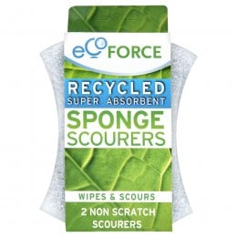 EcoForce Recycled Sponge Scourers - Non Scratch 2pk