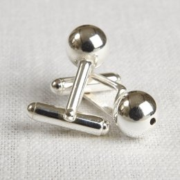 La Jewellery Recycled Silver Sphere Cufflinks
