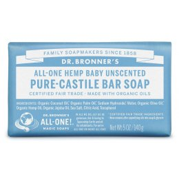 Dr Bronner Organic Baby Mild Unscented Soap Bar - 140g