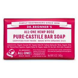 Dr Bronner Organic Rose Soap Bar - 140g