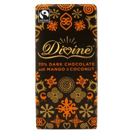 Divine 70 percent  Dark Chocolate with Mango & Coconut sharing bar