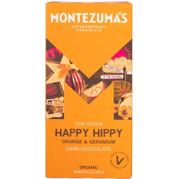 Montezumas Happy Hippy Organic Orange & Geranium Dark Chocolate - 90g