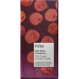 Vivani Organic Dark Chocolate & Cranberry - 100g