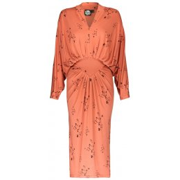 Nancy Dee Adele Knee-Length Orange Butterfly Print Dress