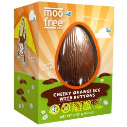 Moo Free Organic & Dairy Free Orange Chocolate Easter Egg with Buttons - 120g