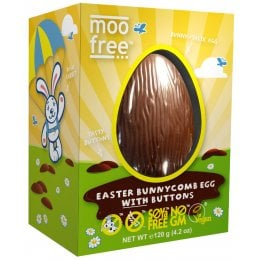 Moo Free Organic & Dairy Free Bunnycomb Chocolate Easter Egg with Buttons- 120g