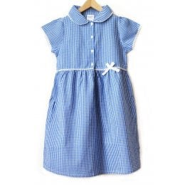 Girls Gingham Checked Summer School Dress - Blue - 5yrs